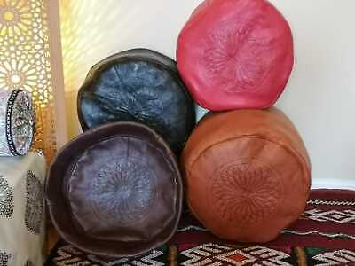 Moroccan Pouffe Plush Leather Footstool Various Colours Seating Ottoman Pouffet • 39.99£