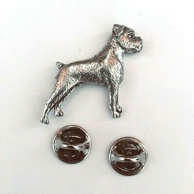 Boxer Dog Badge Pin Brooch In Quality English Pewter With Gift Box Option • 6.19£