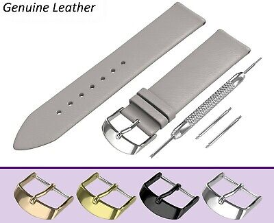 £7.45 • Buy Fits ACCURIST Watch Grey Genuine Leather Watch Strap Band For Buckle Clasp Pins