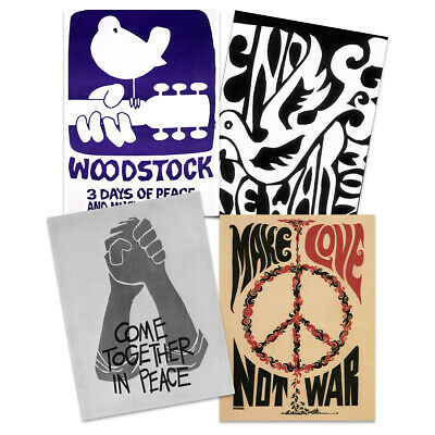 Peace & Love Woodstock Music Festival 50th Anniversary Wall Art Poster Pack Of 4 • 14.99£
