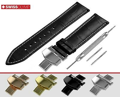 Fits OMEGA Black Watch Strap Band Genuine Leather For Buckle Clasp 12-24mm Pins • 11.45£