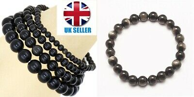 SPIRITUAL Black Or Golden Sheen Obsidian  Elastic Stretch Bracelet - 6mm Or 8mm • 1.99£