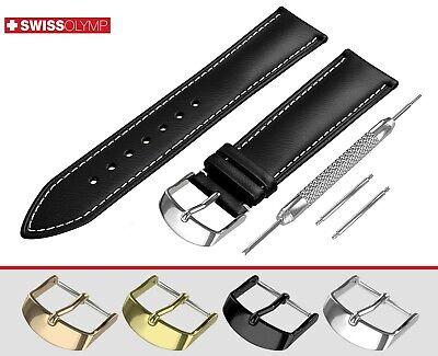 Fits OMEGA Flat Black Genuine Leather Watch Strap Band For Buckle Clasp Pins • 10.45£
