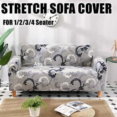 AU28.25 • Buy Super Stretch Grey Floral Sofa Couch Cover Lounge Seat Slipcovers 1 2 3 4 Seater