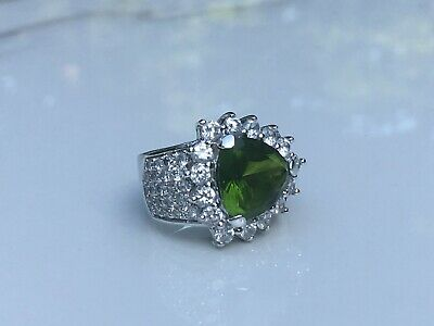 $135 • Buy Charles Winston Sterling Silver Simulated Trillion Cut Emerald & White CZ Ring