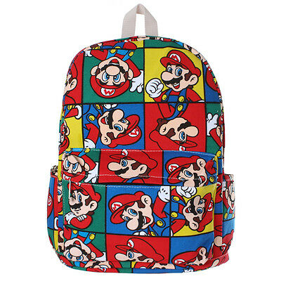 Super Mario Bag Colorful Printed Backpack Student Boy Girl Schoolbag Rucksack • 11.59£