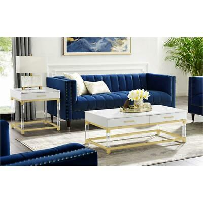 $314.21 • Buy Briar High Gloss End Table With Acrylic Legs And Metal Base White/Gold