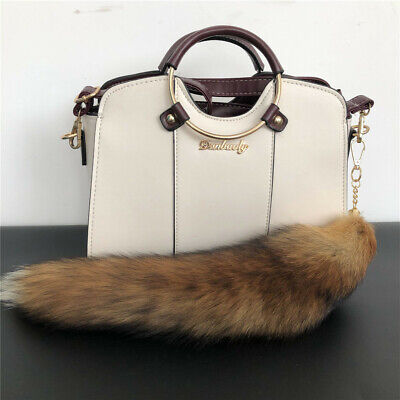 $9.98 • Buy Long Real Red Fox Fur Tail Keychain Bag Charm Keyring Cosplay Toy Bag Accessory