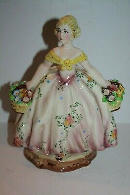 $ CDN154.13 • Buy Italian Vintage Porcelain Figurine 2 Flower Baskets
