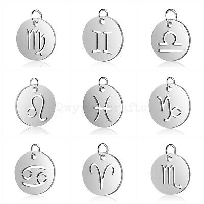 Stainless Steel Charms Tags Pendant Zodiac Star Sign Horoscope 304 Grade 12mm  • 1.69£