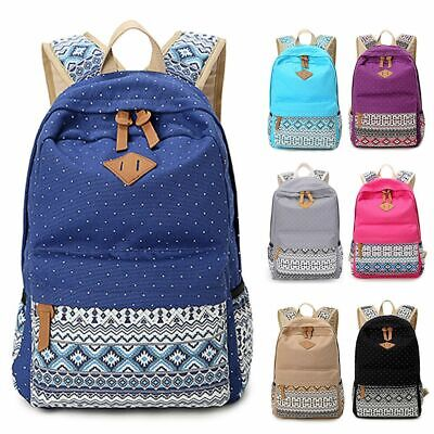 $16.90 • Buy Women's Canvas Shoulder Backpack Teen Girls School Book Satchel Travel Bag