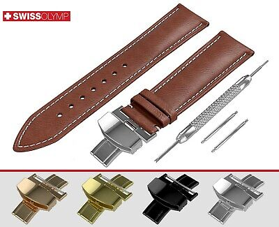 Fits OMEGA Flat Brown Genuine Leather Watch Strap Band For Clasp Buckle Pins • 11.45£