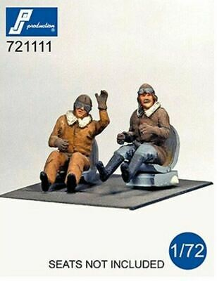 PJ Production 721111 1/72 WWI Pilots Seated Resin Figures • 6.49£