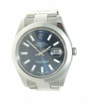 $ CDN9593.78 • Buy Rolex Datejust II 41mm Blue Baton Dial Steel Watch 116300 W/ Card