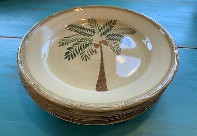 $19.99 • Buy SET OF 4 - HOME TRENDS - WEST PALM TREE - 10 1/2  DINNER PLATES - Beautiful Set