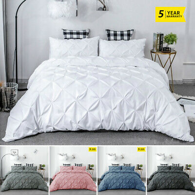 AU33.80 • Buy Diamond Embroidery Pintuck Pinch Pleated Duvet/Doona/Quilt Cover Set All Size