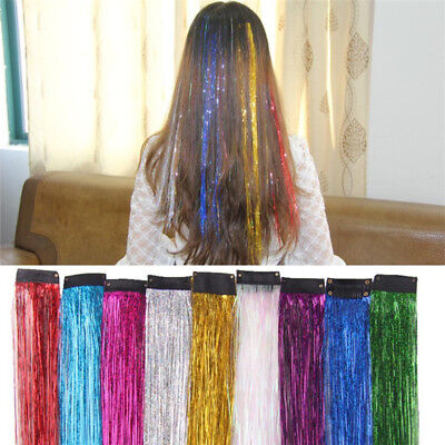 Holographic Glitter Tinsel Long Hair Extensions Sparkle Highlights Strands SI • 1.90£