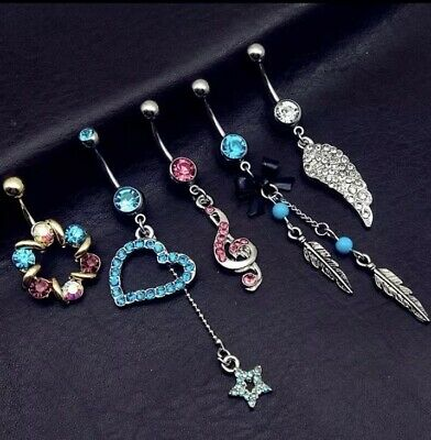 5 Piece Stainless Steel Belly Bars Blue/Pink  Heart Music Theme Set- UK SUPPLIER • 8.99£