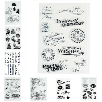Cartoon Patterns Silicone Clear Stamp Transparent Rubber Stamps DIY Scrapbook • 2.64£