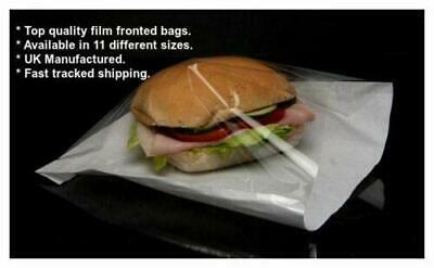 £28.90 • Buy 1000 X Film Front White Paper Bags | Cellophane Window For Food,Cakes- 10  X 12