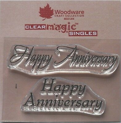Woodware Clear Acrylic Stamp Set HAPPY ANNIVERSARY Set Of 2 • 2.35£