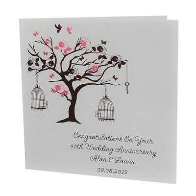 Handmade PERSONALISED Bird Tree WEDDING ANNIVERSARY Card • 2.25£