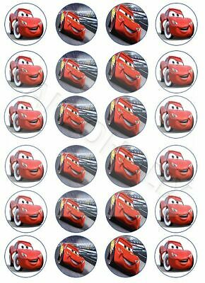 Cars With Lightning McQueen On 24 X Edible Cup Cake Cupcake Toppers Disney Pixar • 4.95£