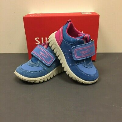 SUPERFIT Sport 7 Mini Girls Kids Blue & Pink Leather Trainers Shoes 7-00101-97 • 19.95£