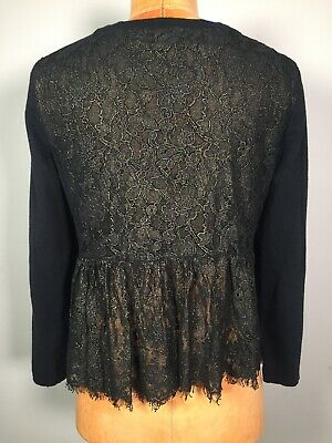 $ CDN35.95 • Buy Anthropologie Knitted & Knotted Black Gold Cropped Cardigan Sweater Lace Size S