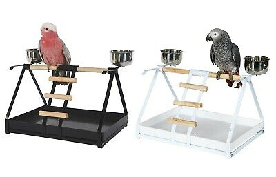 Parrot Play Top Table Top Perch Stand With 2 Cups Ladder Platform African Grey • 29.99£