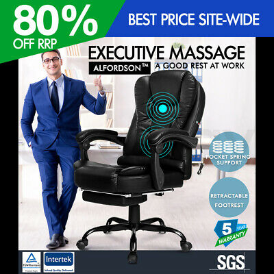AU139.95 • Buy ALFORDSON Massage Office Chair FOOTREST Executive Gaming Racing Seat PU Leather