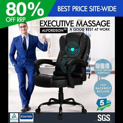 AU209.95 • Buy ALFORDSON Massage Office Chair Executive Recliner Gaming Racing Seat PU Leather