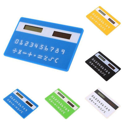 Credit Card Sized Ultra-thin Portable Solar Powered 8-Digit Calculator DI • 2.11£