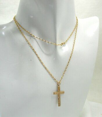 £163.90 • Buy Very Nice 9 Carat Gold Engraved Cross Pendant And Chain