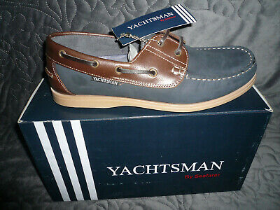 Mens Deck/boat Shoes Sizes 7-12 Uk Navy/tan New Real Nubuck Leather Yachtsman • 26.99£
