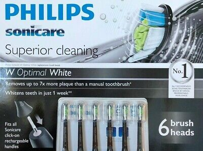 AU54.88 • Buy 6Pack Philips Sonicare Optimal White Replacement Electric Toothbrush Heads Black