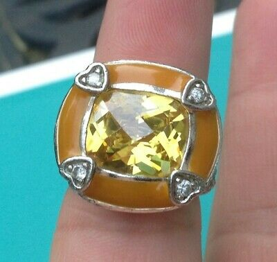 $45 • Buy Charles Winston Sterling Silver Canary & White CZ  BIG  Ring    Size 6