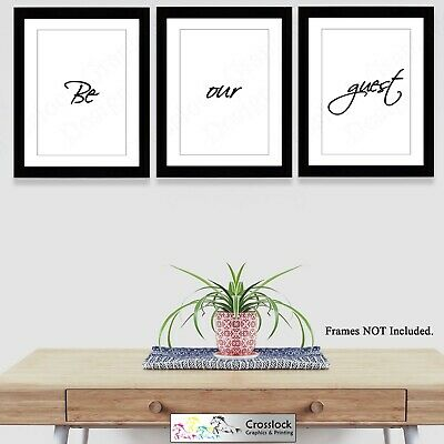 Set Of 3 A4 Be Our Guest Typography Prints Poster Pictures Gift Wall Art • 5.99£