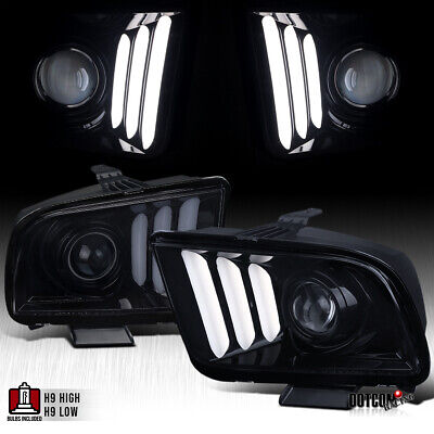 $310.99 • Buy Fit 2005-2009 Mustang Black Smoke LED DRL Tube Projector Headlights Left+Right