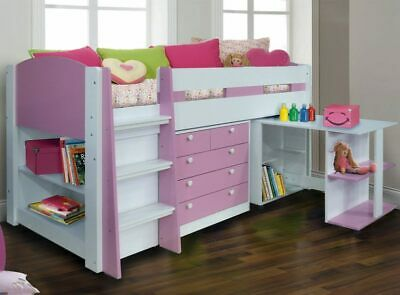Pink Midsleeper Cabin Bed - Chest Of Drawers Desk And Bookcase - New Girls Beds • 439£