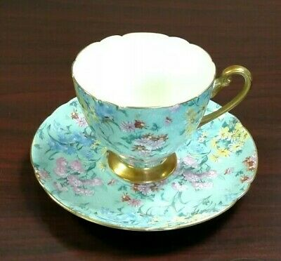 SHELLEY VINTAGE MELODY Green Chintz Gold Trim Teacup And Saucer  • 52.36£