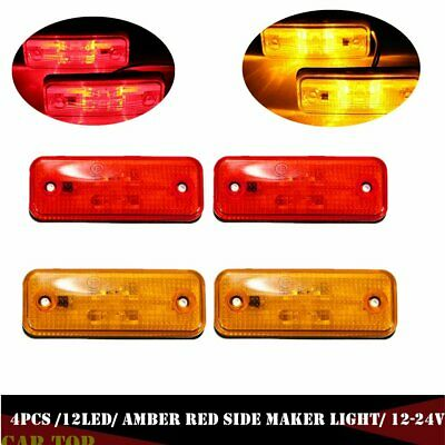 AU17.43 • Buy 4x 4 LED Clearance Side Marker Light Lamp Bus Truck Trailer Lorry Amber Red 12V