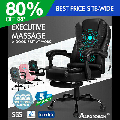 AU139.95 • Buy ALFORDSON Massage Office Chair Executive Gaming Racing Seat PU Leather Footrest