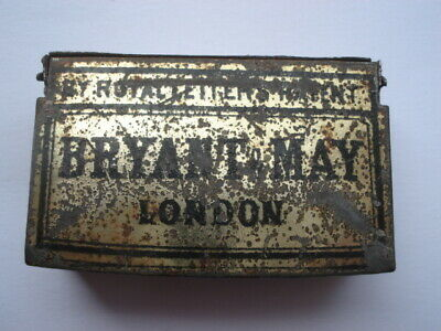 Vintage Bryant&may London By Royal Letters Patent  Small Vesta Tin • 25.99£