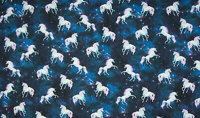 £1.99 • Buy Luxury Digital Printed Cotton Jersey Fabric Material - UNICORNS IN SPACE