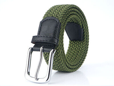 £4.49 • Buy Fashion Mens Womens Waist Belt Leather Canvas Woven Elastic Stretch Pin Buckle
