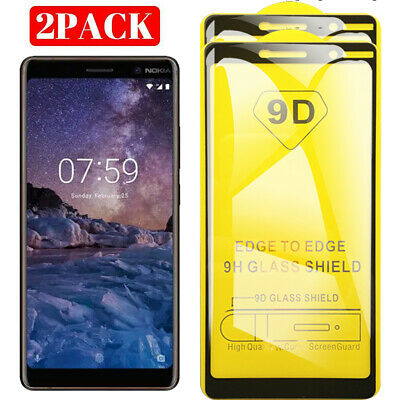 AU7.99 • Buy 2X Nokia 7 Plus 9D Full Cover Tempered Glass Screen Protector For Nokia 7 Plus