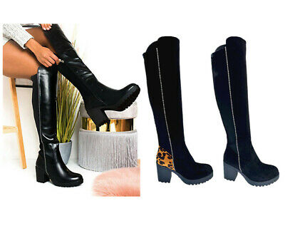 Women Lady Knee High Elastic Stretch Pull On Mid Block Heel Leopard Print Boots  • 25.99£