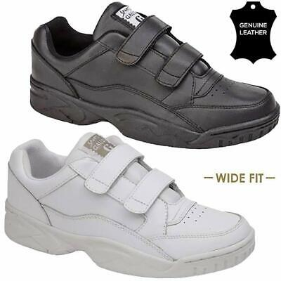 Mens Leather Wide Fitting Gym Running Walking Casual Sports Trainer Driving Shoe • 18.95£