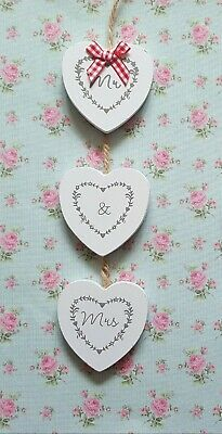 New Three Wooden Hanging Hearts Mr & Mrs Wedding Gift New Home • 1.95£